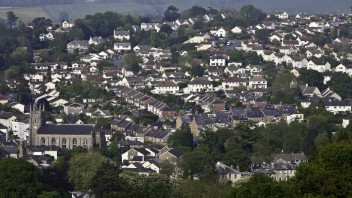 An overview of Totnes in Devon.